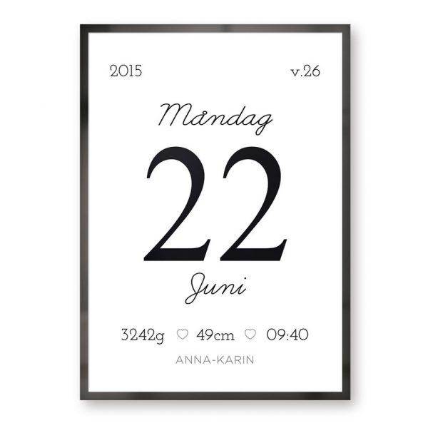 Datumposter födelsetavla