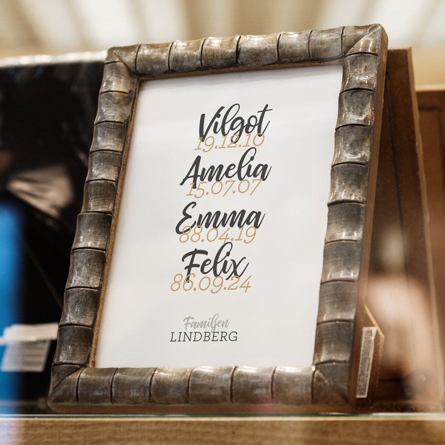 familjetavla familjeposter datumposter namntavla poster presenttips
